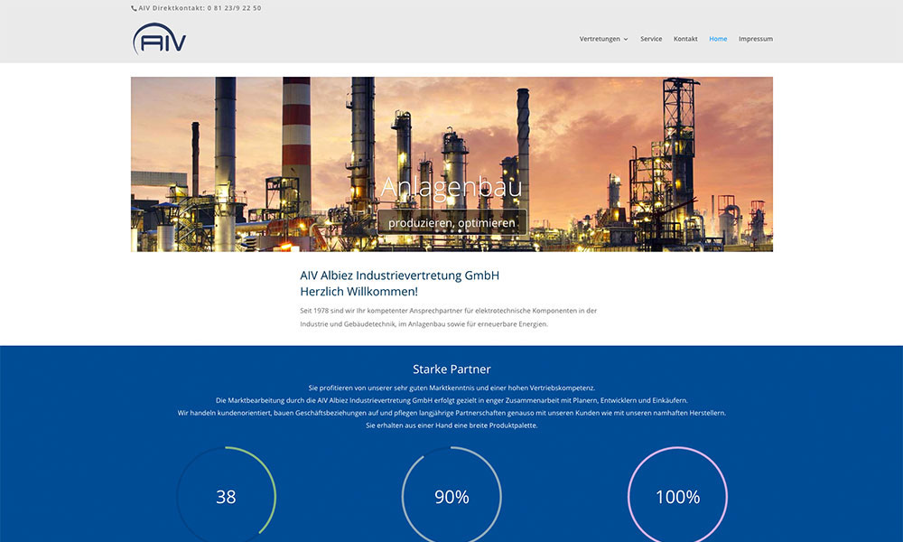 WordPress Homepage AIV Albiez Industrievertretung GmbH