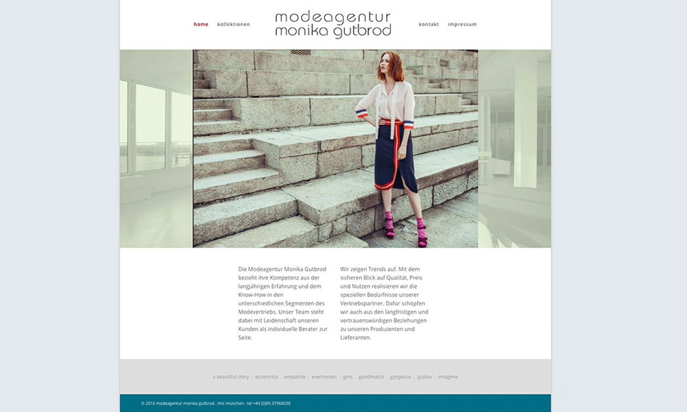 WordPress Homepage Modeagentur Monika Gutbrod