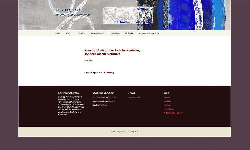 WordPress Homepage Iris von Goessel, Künstlerin