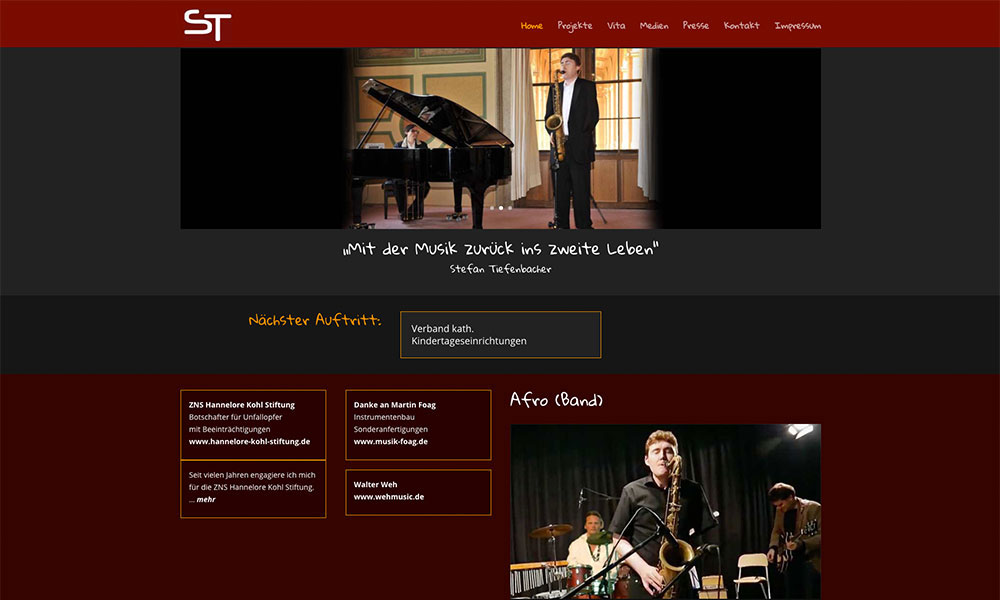 WordPress Homepage Stefan Tiefenbacher, Saxophonist